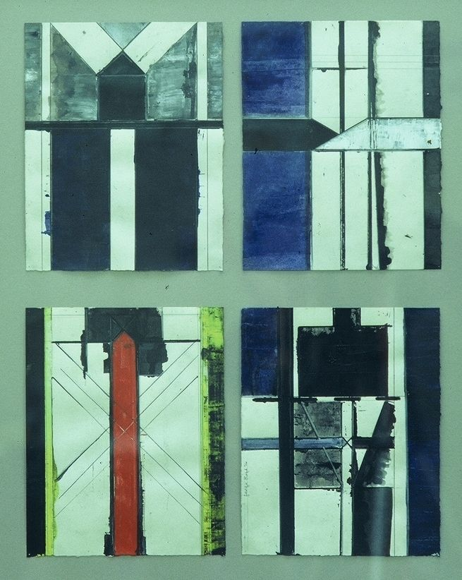 4 STUDIES for BLACK TOWER  1976 Eugene OR acrylic and ink drawings , ea 25 x 21 cm