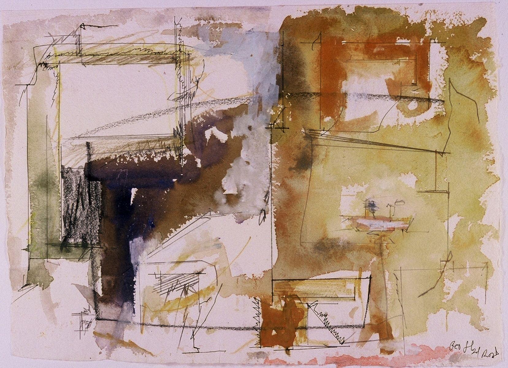 """PAESAGGIO ROMANO    2002    Roma  11 x 15""""    , watercolor on  paper"""