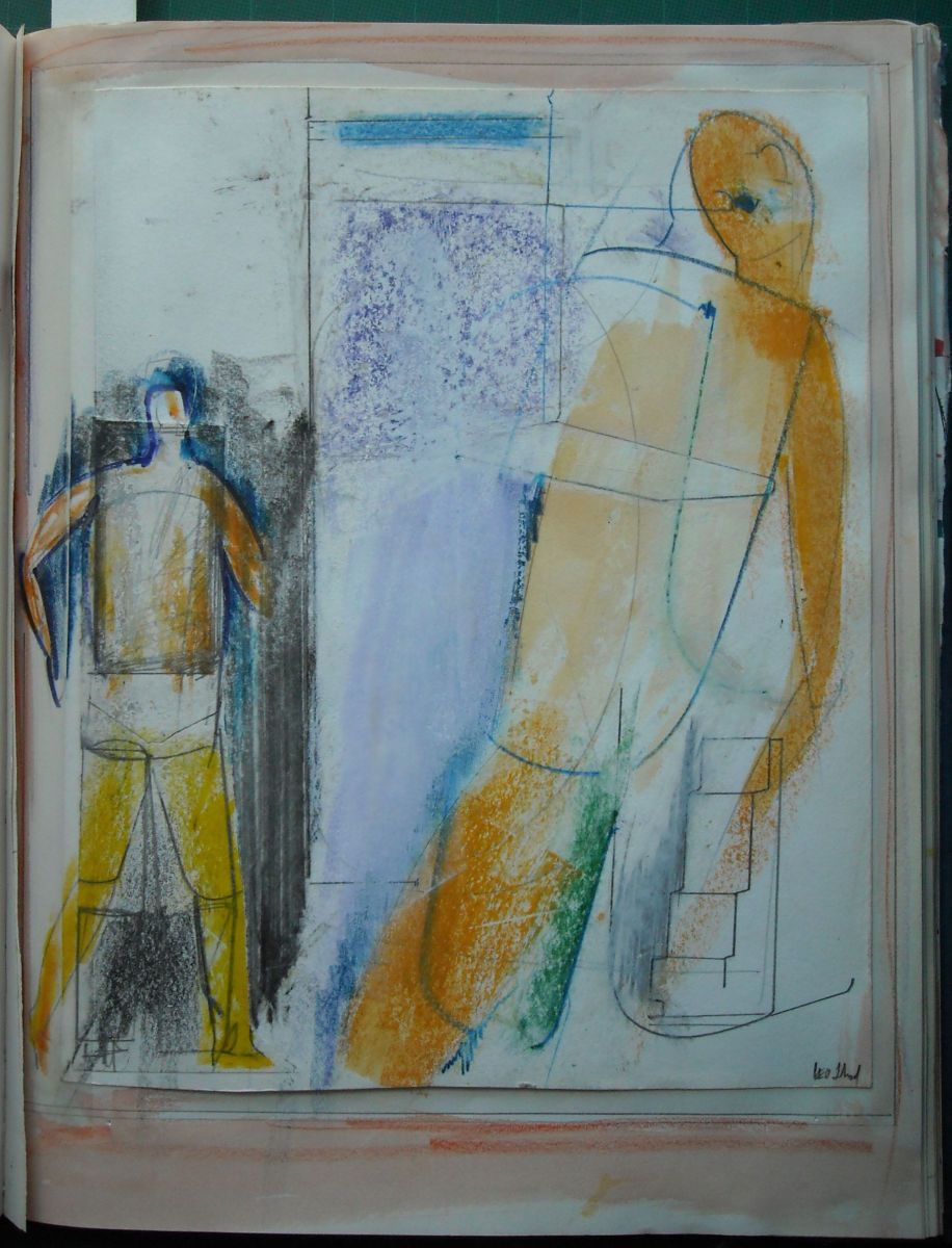 Page 25:   COMPOSITION w 2 Male FIGURES  1983