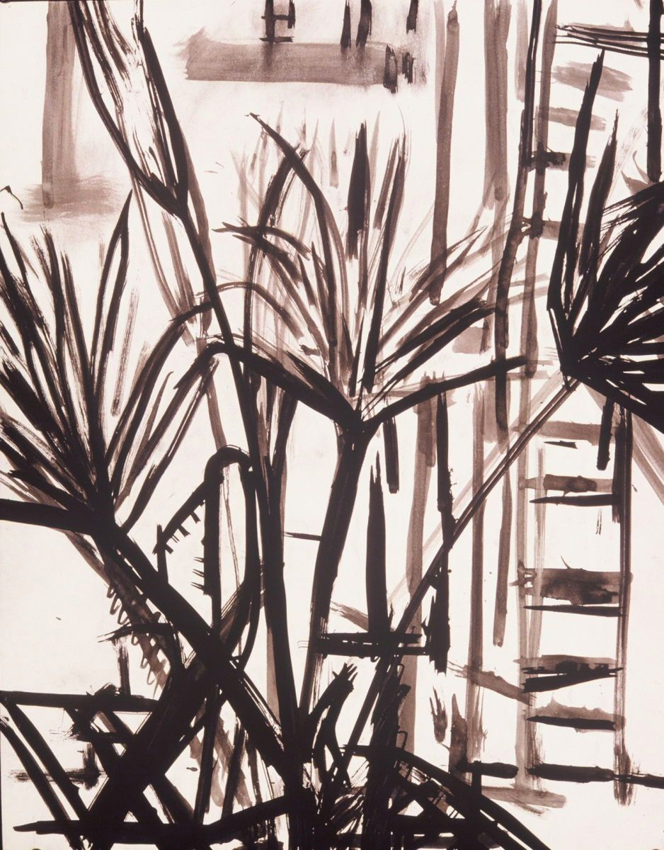"Composition w PALM TREE #2 1972 Berkeley 24 x 19"" , ink on paper private collection"