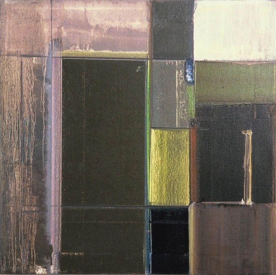 "PASTORAL CONSTRUCT   1978 Berkeley   , 20x20""    oil on canvas"