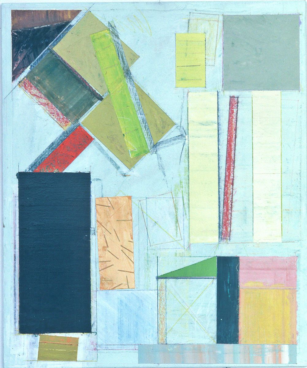 "ONEIRIC CONSTRUCT  no.1  1981 -2 San Francisco CA 24 x 20 ""   , acrylic on muslin affixed to plywood panel"