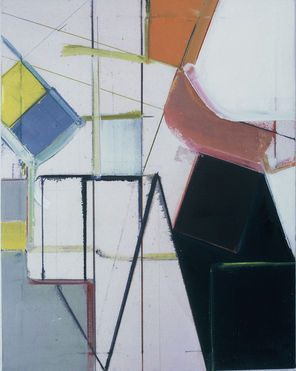 "BRITE   PARADIGM       1976       Berkeley  28 x 22""   , oil on Rhoplex sized canvas"