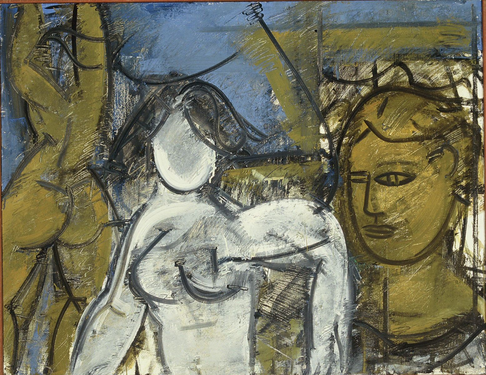 Composition w TWO FIGURES and SELF PORTRAIT HEAD   1971 Berkeley  private collection Palp Alto CA