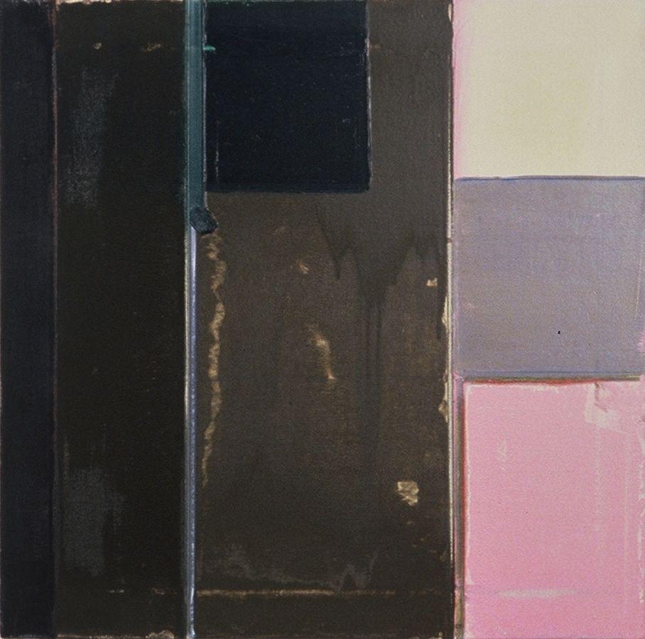 "DIVIDED COMPOSITION    1978   Berkeley   ,  20x20""  , oil opn canvas"