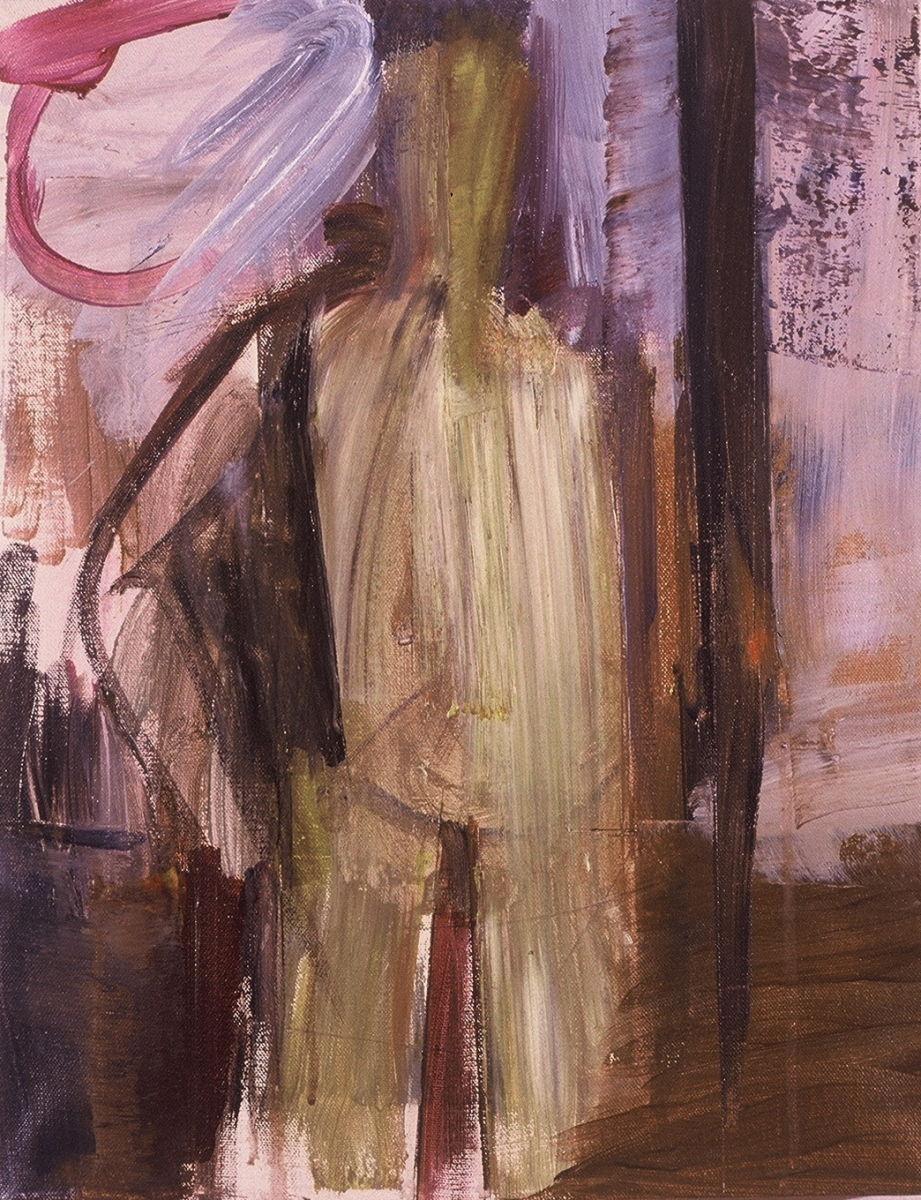"STANDING SELF PORTRAIT 1986  Portland 18 x 14"" , acrylic on canvas"