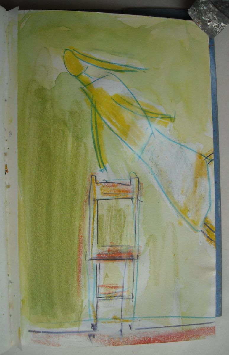 Composition w    CHAIR and FLYING FIGURE   1983    Bangor ME from sketchbk
