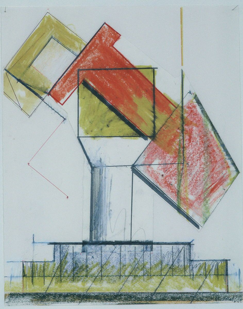 "Composition w SCULPTURE  14 x 11 "" , various media on paper"