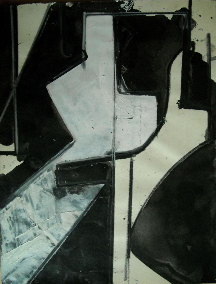 "Composition w SHIFTING FIGURE  1976 , Eugene   OR 11x 8.5""   , ink and acrylic on paper"