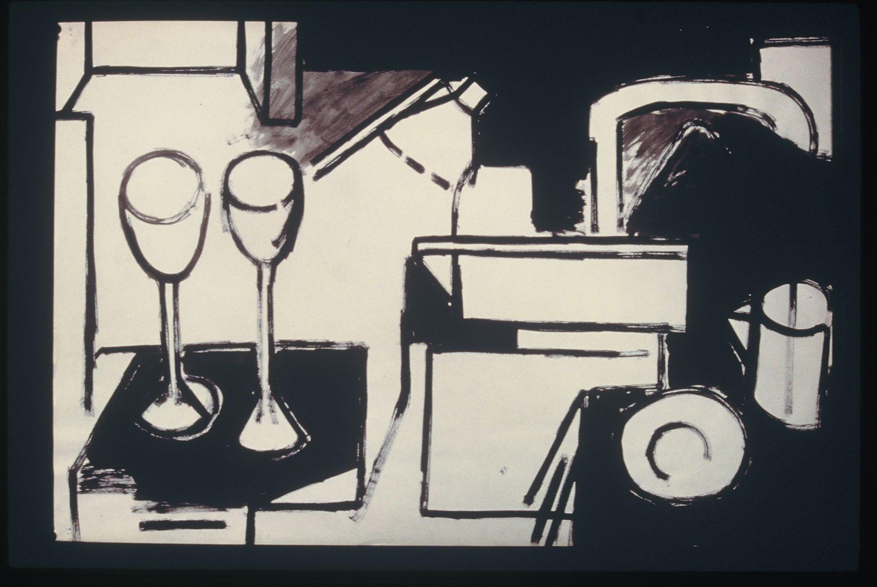 "STILL LIFE w WINE GLASSES   1973   Berkeley24 x 36"" , ink on paper"