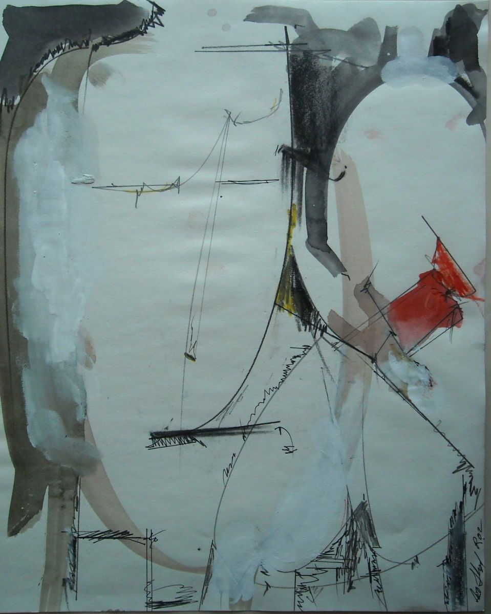 """TWO FIGURES 2002 Rome 12 x 9""""  , ink and guache etc on paper"""