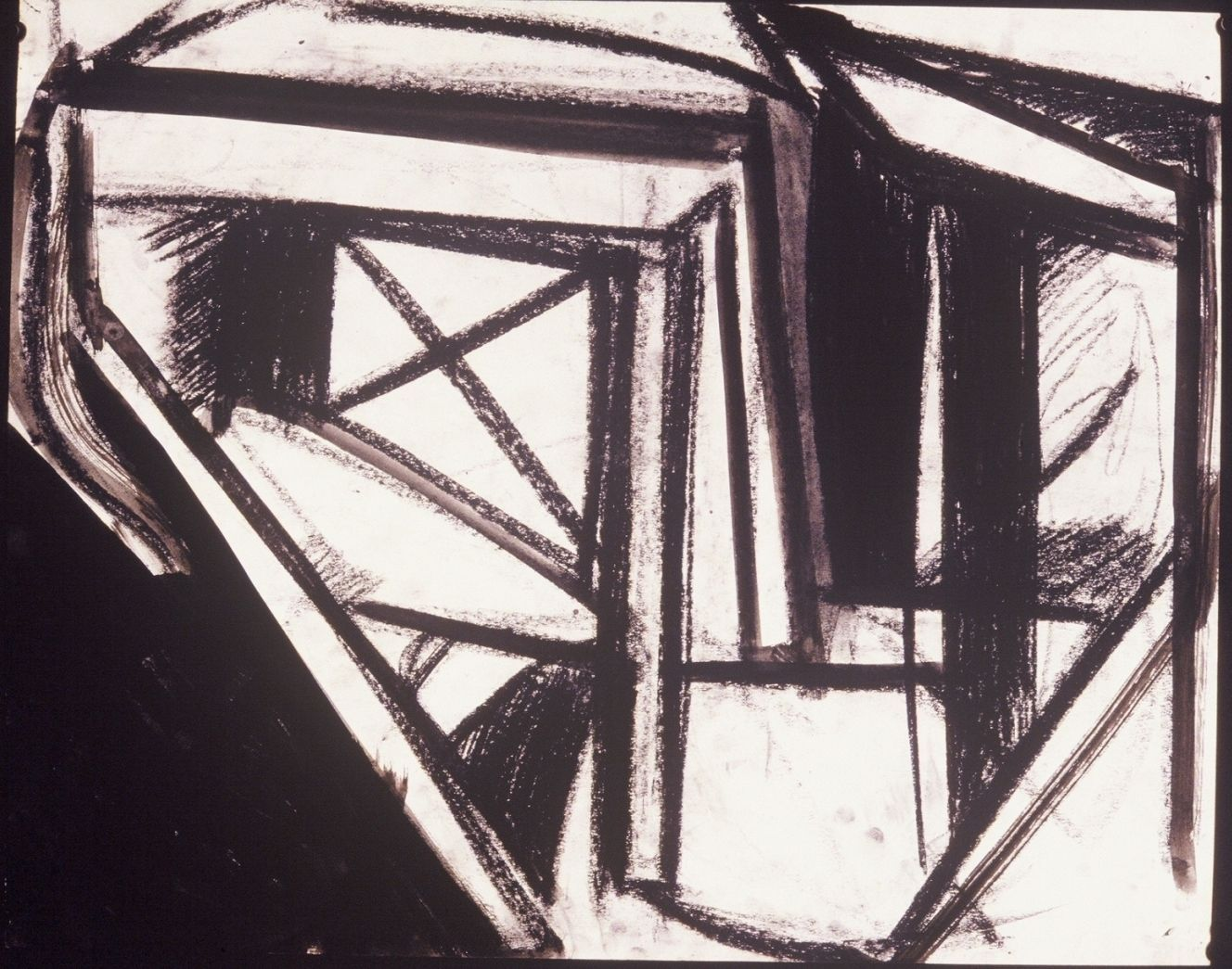 "Composition w TABLES  1971  Berkeley 19 x 24"" , ink and charcoal on paper"