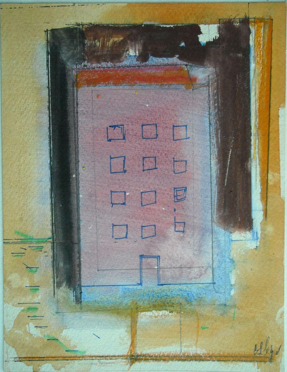 "Composition w Apartment Building    1986 9 x 7"" , guache etc on paper"