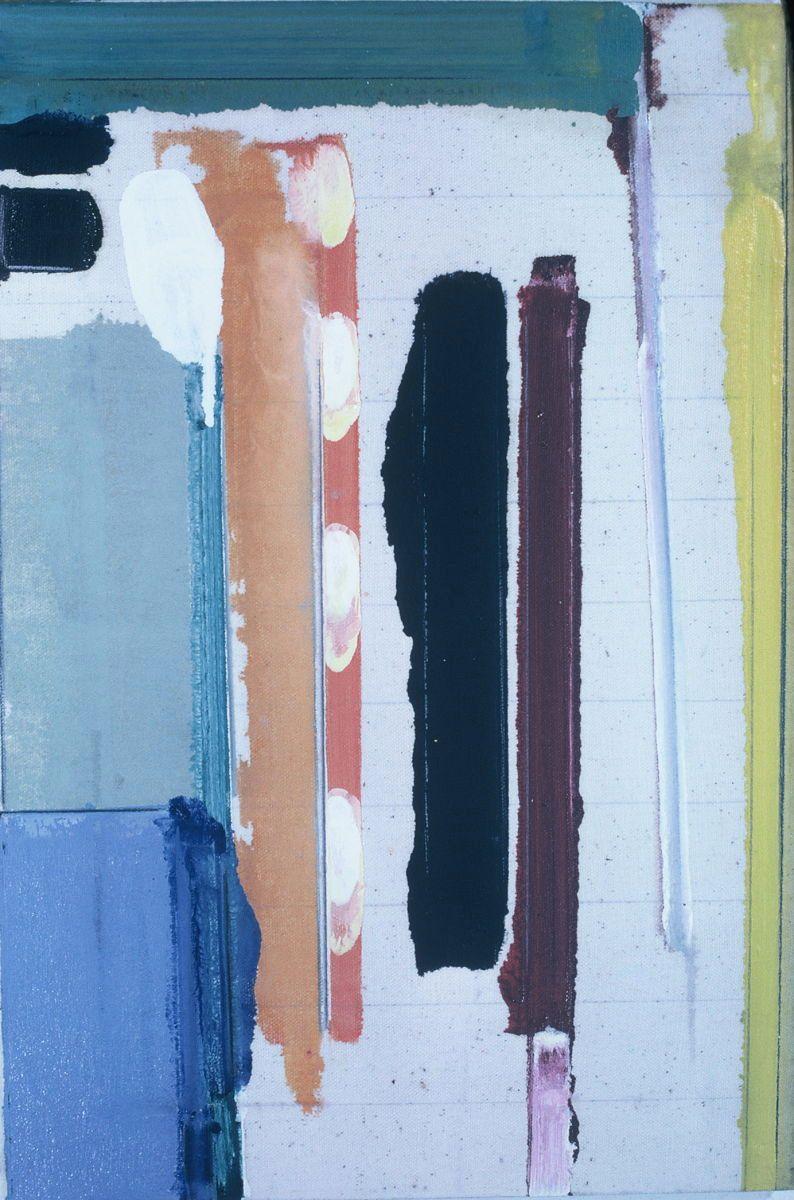 "LYRIC CONSTRUCT    1976 Berkeley  18 x 12""   , oil on Rhoplex sized canvas"