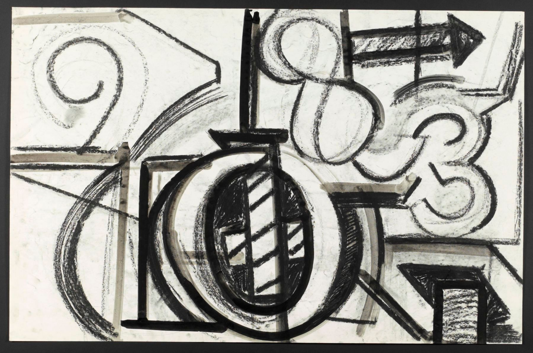 "The BIG 'O'   1971   Berkeley 26 x 40"" , ink and charcoal on paper"