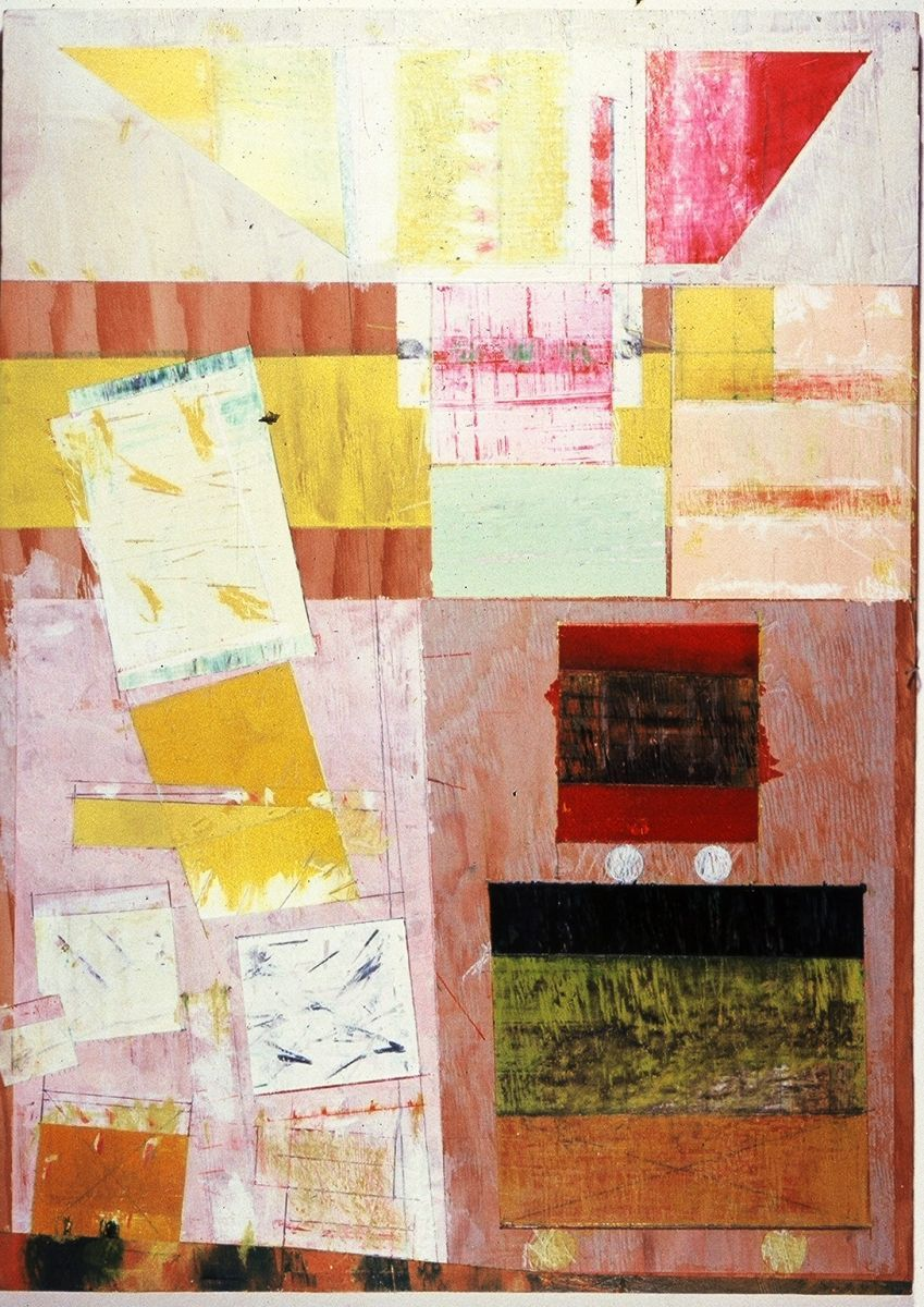 """DRYDOCK    1982    SanFrancisco and Ithaca NY 33 x 24""""    , acrylic and paper on plywood panel"""