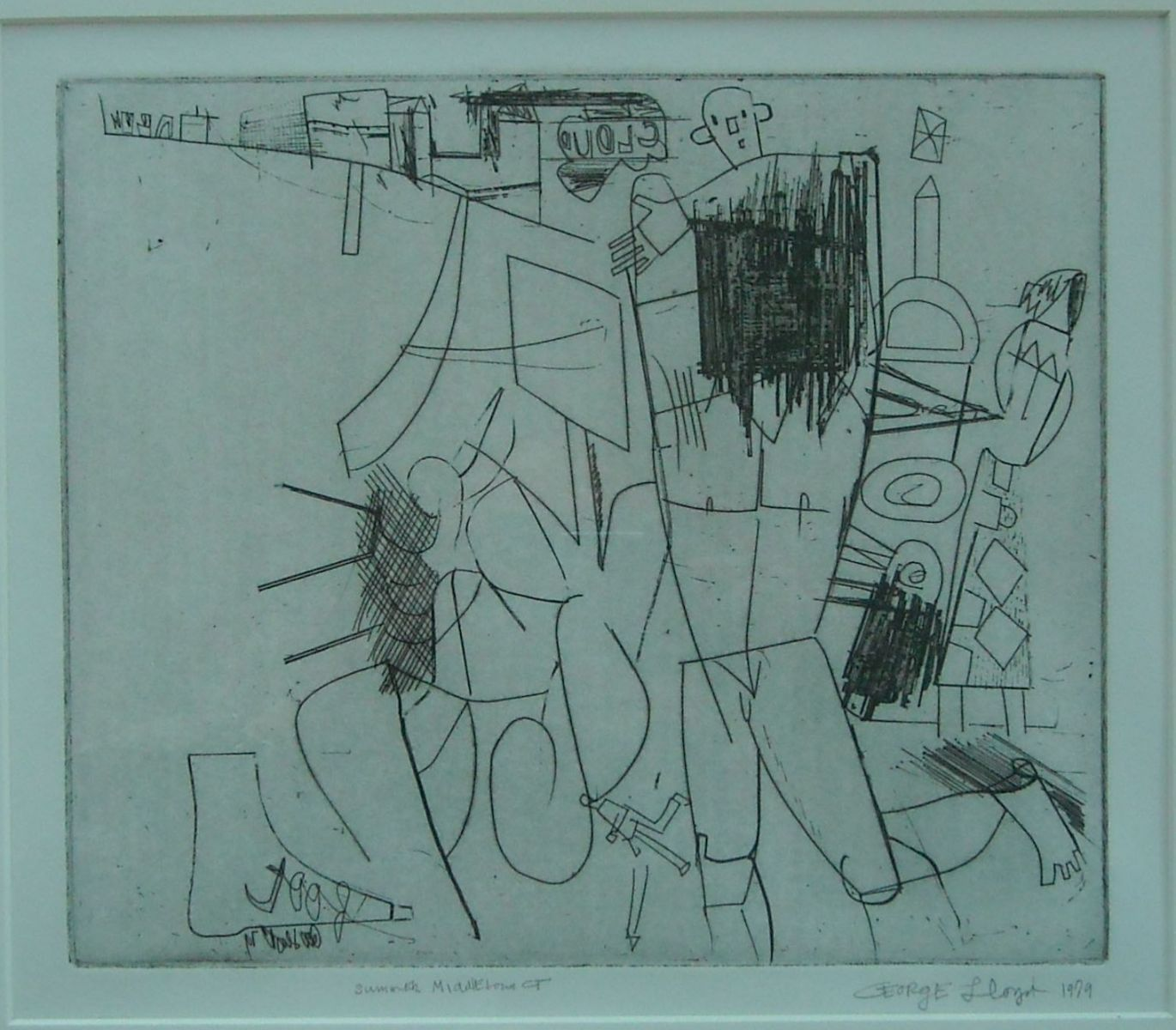 ANTIC HAY  --artist's proof Summer 1979 Middletown CT   drypoint