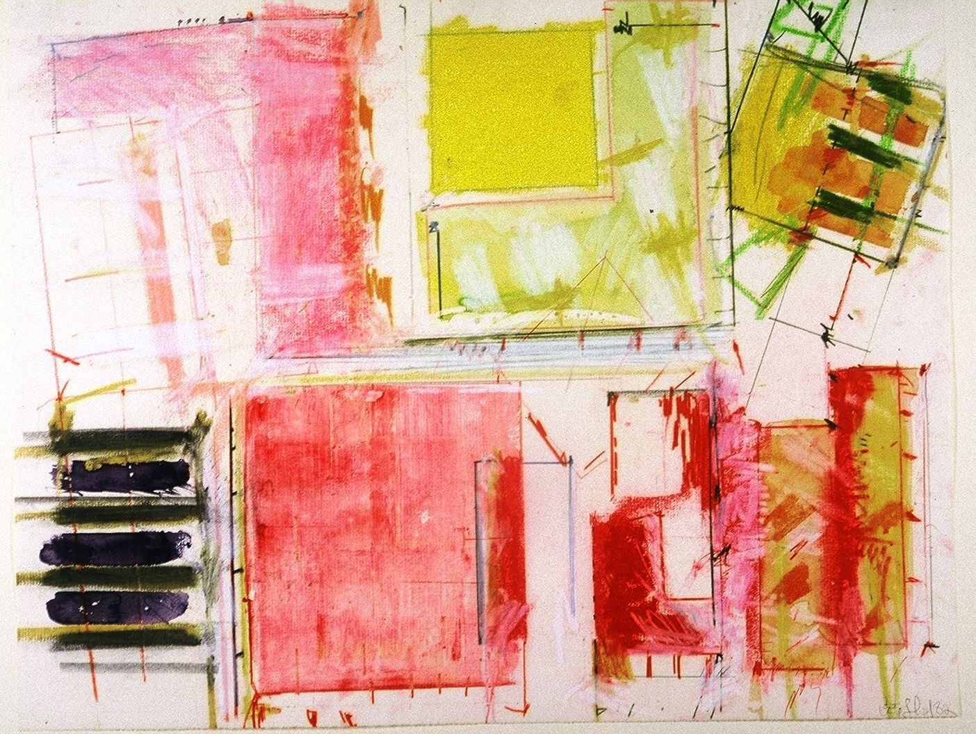 "PINK CITY    , Ithaca NY      1982 15 x 19"" ,    watercolor  etc on laid paper"