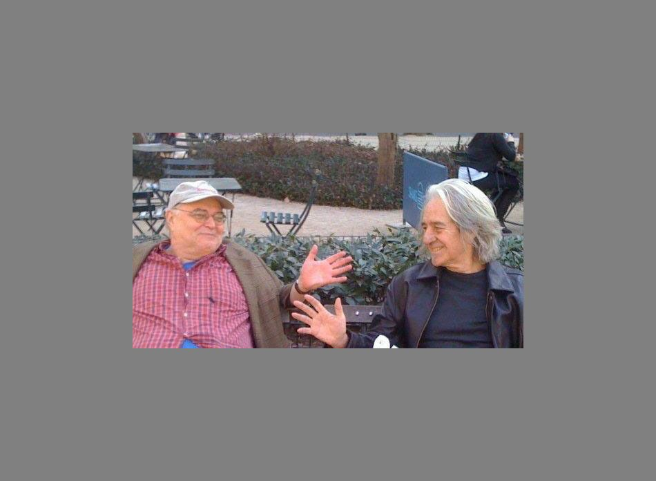GEO LLOYD and ALAN SCARRITT                                                           on a bench in Madison Square Park NYC   March 2010either before or after our lecture for NY STUDIO SCHOOL evening series