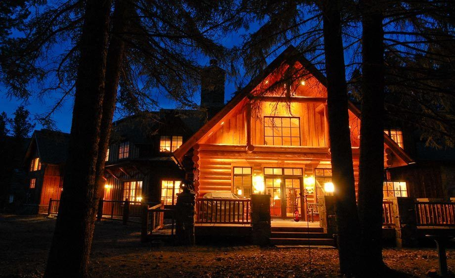 Silverthorne Log Home at Night