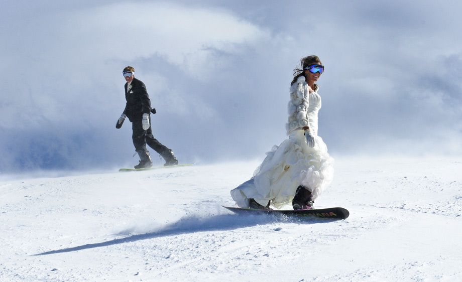 Snowboarding Bride and Groom