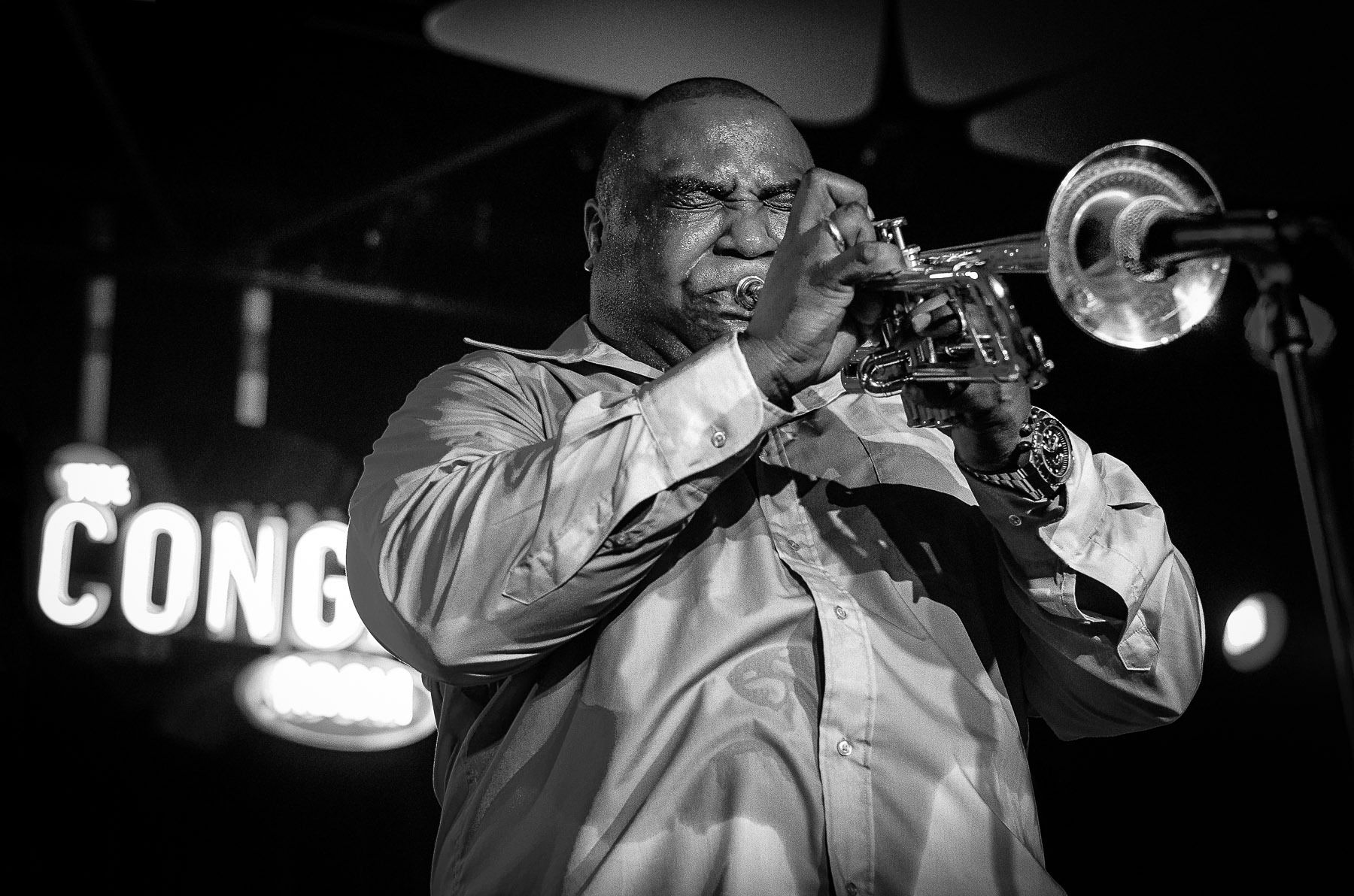 Alexander Abreu on trumpet.  Havana d'Primera at the Conga Room.  Los Angeles 2012.