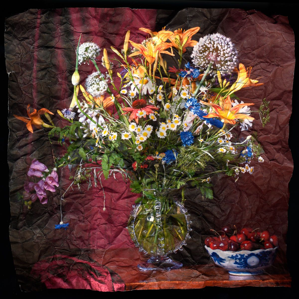 Still Life with June Bouquet and Bowl of Cherries