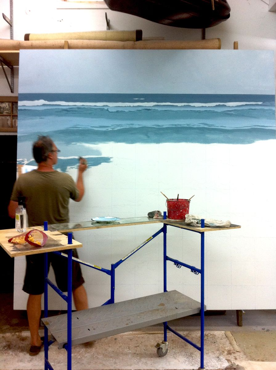 Dines working on seascape 2011