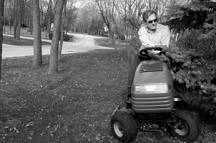 MOWING THE LAWN.