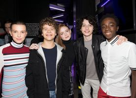 Cast of Stranger Things backstage at TRL