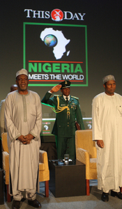 Umaru Yar'Adua (r),  President of Nigeria attends the THISDAY meets the World conference