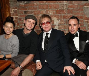 Jessica Biel, Justine Timberlake, Elton John and David Furnish