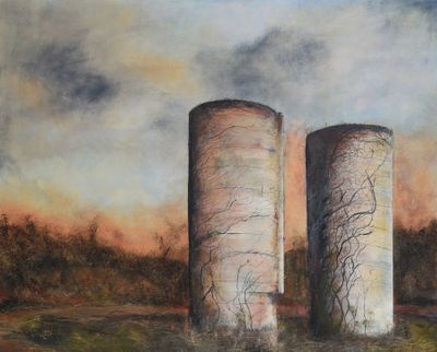 Silos on a Country Road
