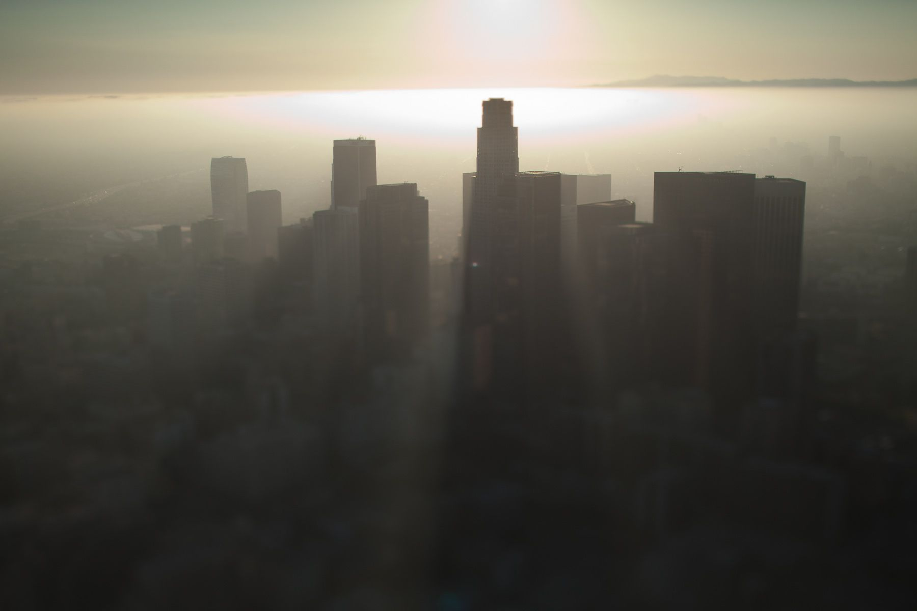Tilt-shift aerial view of Downtown Los Angeles