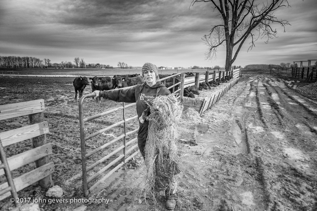 Cathy closes the gate to the pasture after gathering bale wrapping.