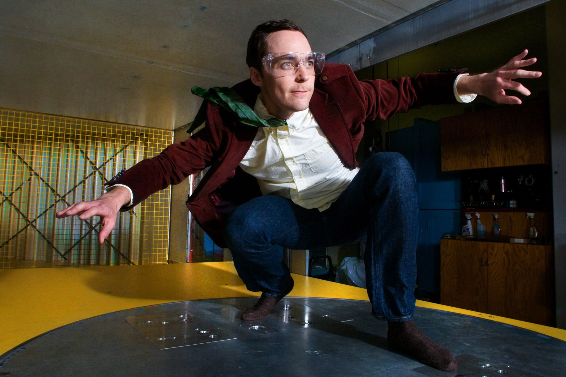 Jim Parsons in the Cal Tech wind tunnel shot for TV Guide Magazine