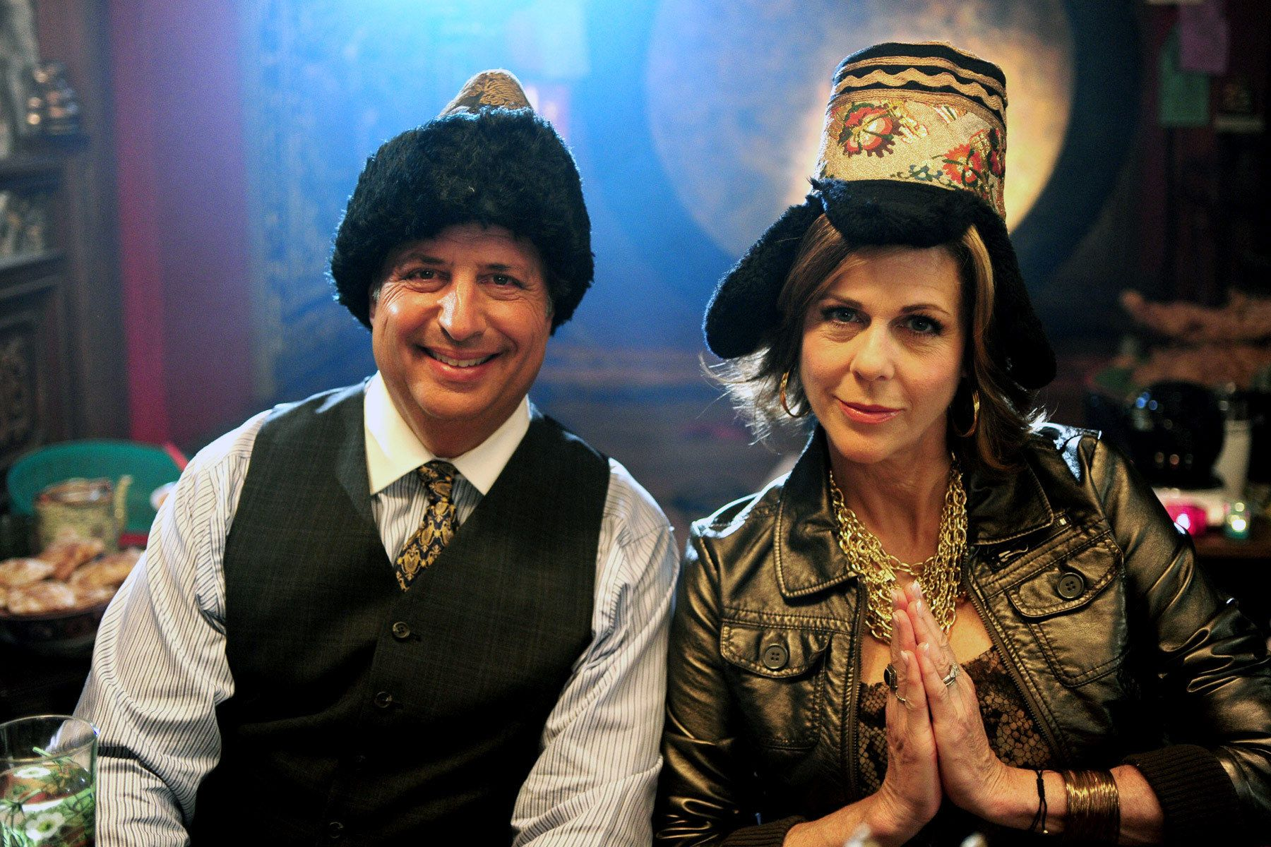 Rita Wilson and Jon Lovitz on the set of Jewtopia.
