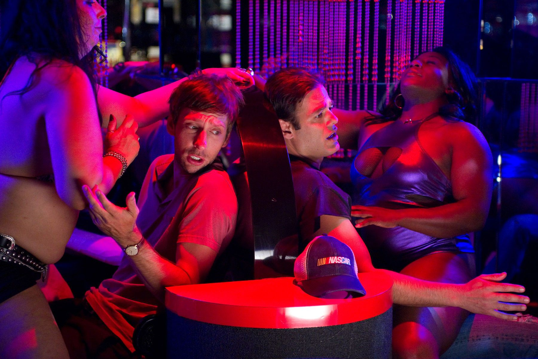 Joel David Moore and Ivan Sergei filming a scene in a stip club on the set of the film Jewtopia.