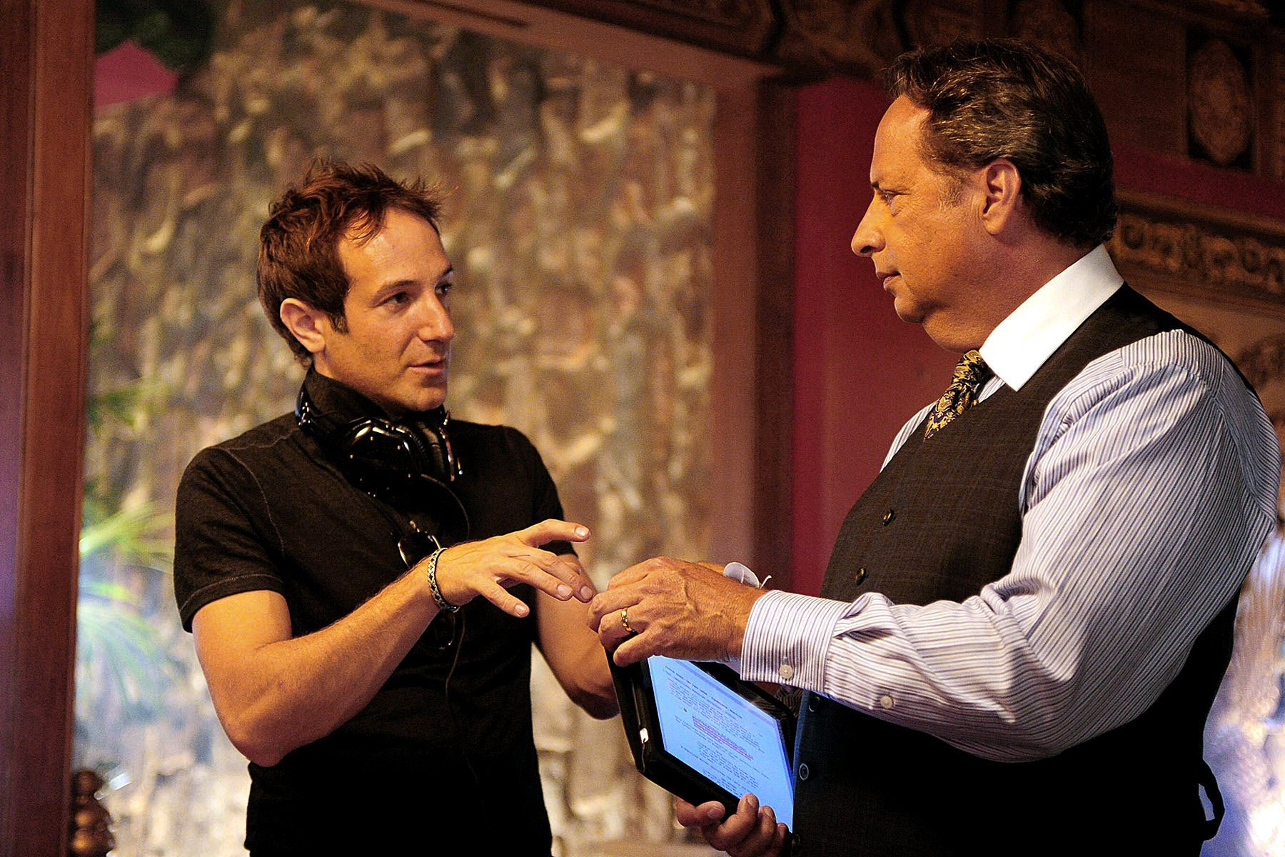 Director Bryan Fogel directing Jon Lovitz on the set of his film Jewtopia.