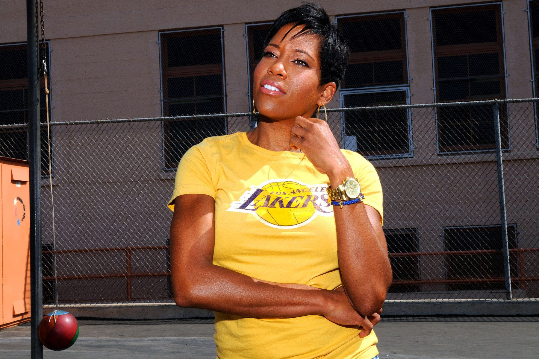 Regina King at her elementary school in South LA shot for TV Guide magazine.