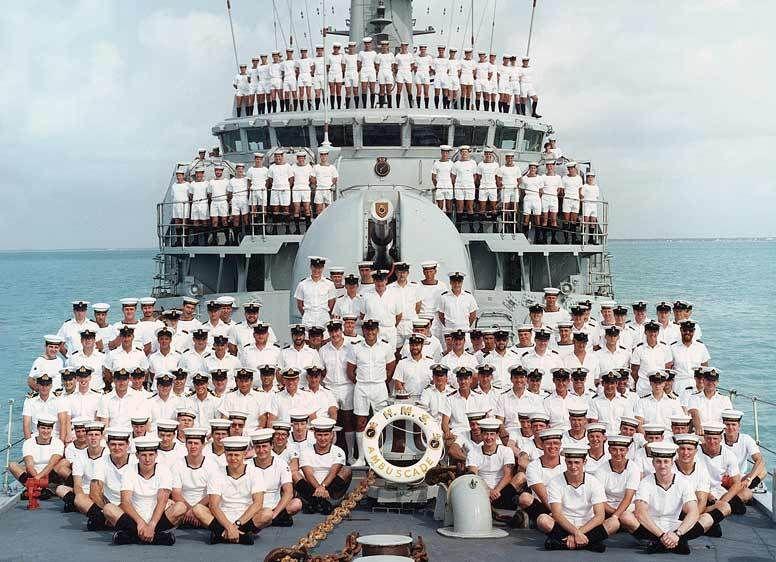 Ships Company,  HMS Ambuscade, Belize, Central America.