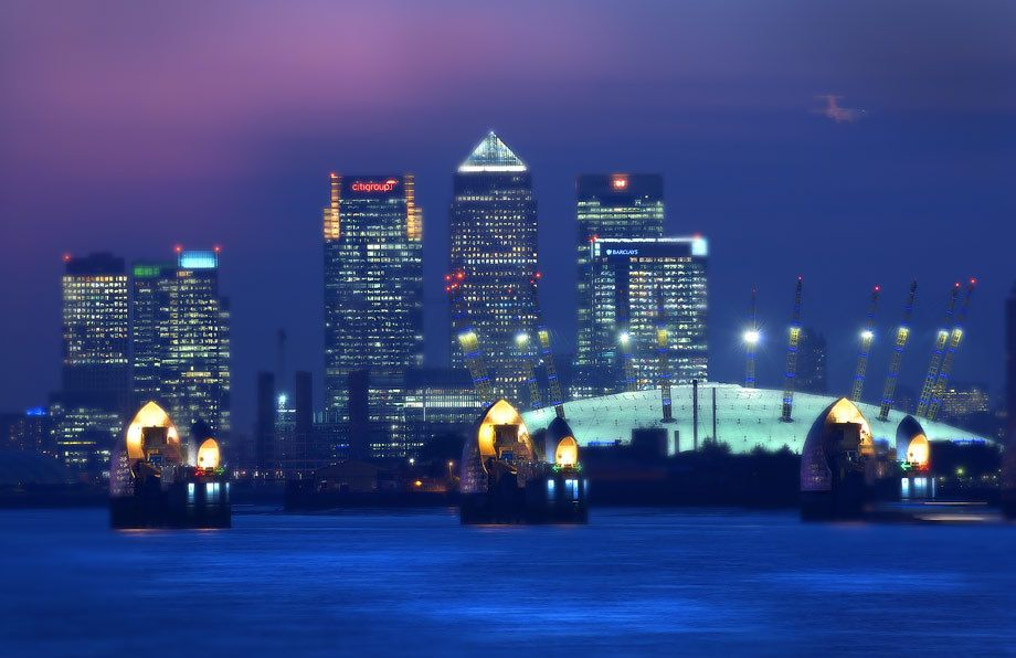 Canary Wharf, O2 Arena and the Thames flood Barrier,  London.