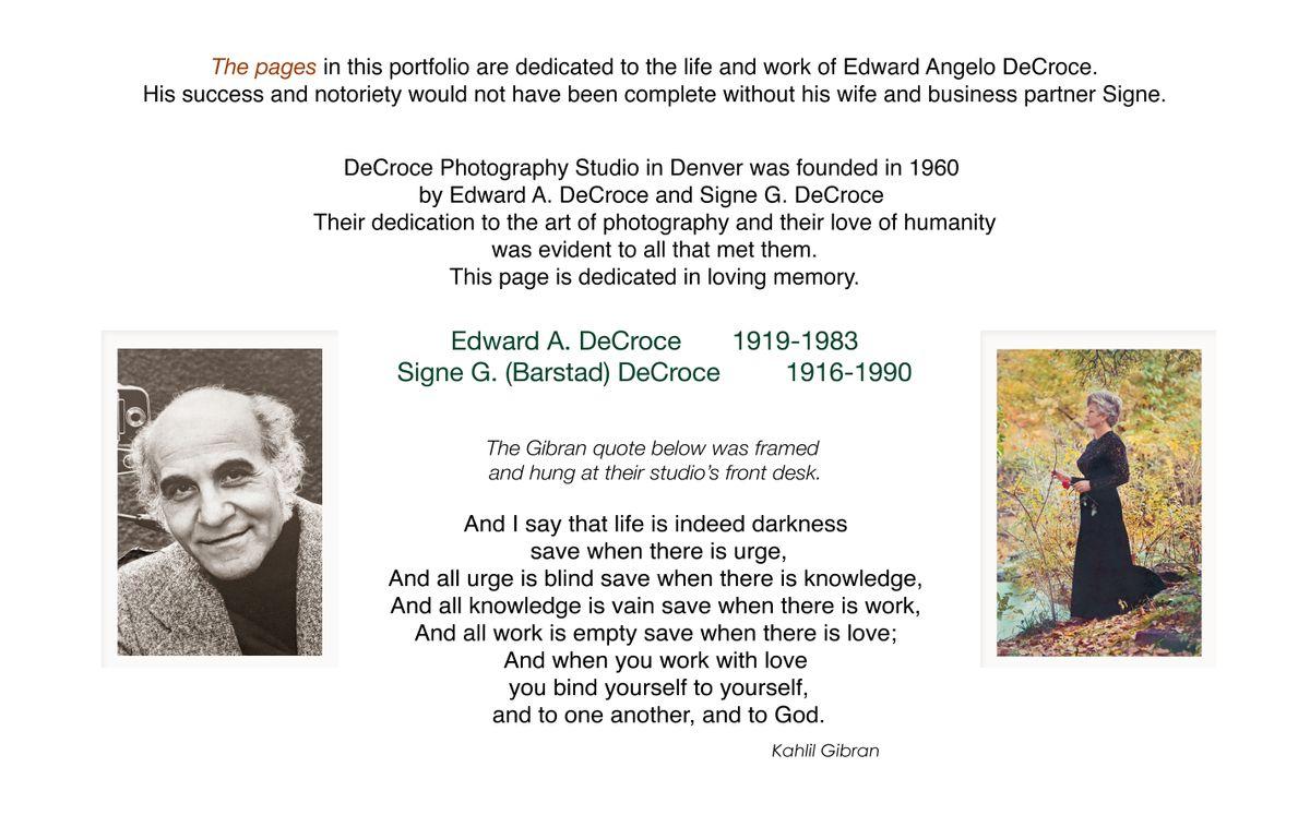 Edward A. and Signe G. DeCroce Tribute
