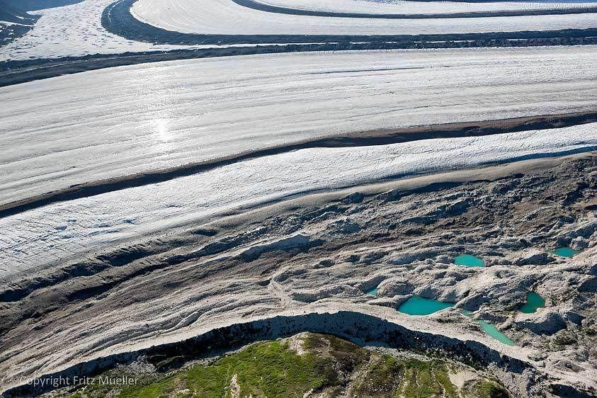 Lateral moraines on the Kaskawulsh Glacier, Kluane National Park, Yukon