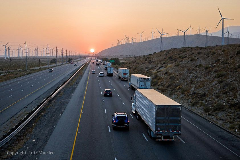 San Gorgonio Pass wind farm along Interstate 10, California