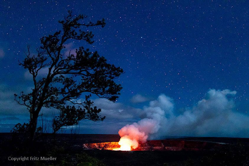 Eruption of Kilauea Volcano at the Halema`uma`u Crater in Hawaii Volcanoes National Park, Big Island of Hawaii