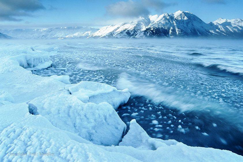 The shore of Kluane Lake during freeze-up, Yukon