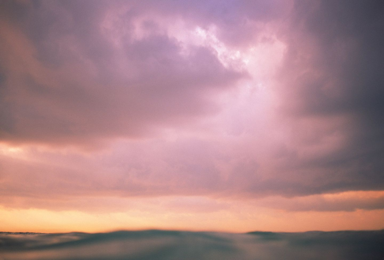 Moody sky with ocean wave