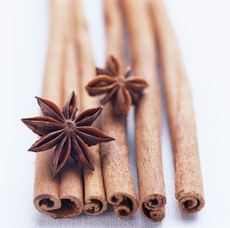 Spices star anise and cinnamon sticks
