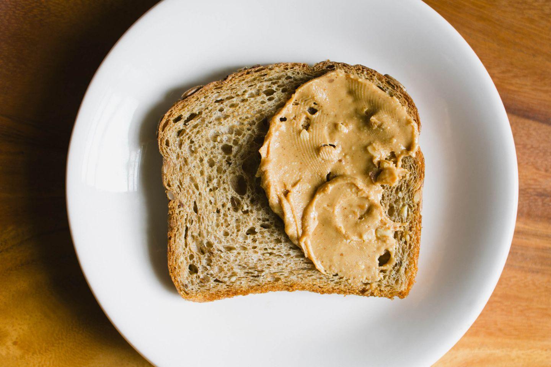 Peanut butter on whole grain bread